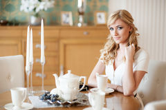 Woman at tea party Royalty Free Stock Images