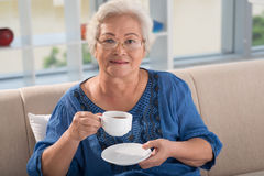 Woman with tea Stock Photos