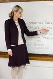 Woman Teacher. Or instructor in a college, university, high school, middle school, elementary classroom pointing to writing on white board Royalty Free Stock Photo
