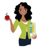 Woman teacher. African american female teacher with books royalty free illustration