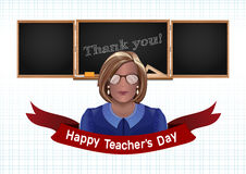 Woman teacher on a background of black chalkboard. Happy Teachers Day. Woman teacher on a background of black chalkboard. The inscription in chalk on a Stock Photography