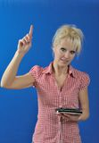 Woman teacher with e-book reader Royalty Free Stock Images