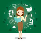 Woman Teacher With Educational Supplies Icons Stock Images