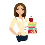 Woman teacher. Holding books and red apple Royalty Free Stock Photography