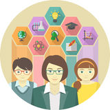 Woman Teacher and Pupils with Education Icons Stock Photography