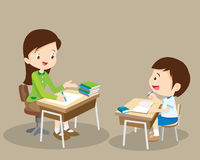 Woman teacher tutor tutoring kid vector illustration