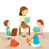 Woman Teachers Telling Story To Students vector illustration
