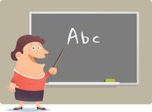 Woman teaching. Illustration cartoon of Woman teaching ABC Stock Photo