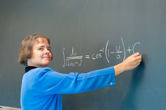 Woman teaching calculus Stock Image