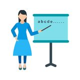 Woman Teaching. Teacher, classroom, school icon vector image. Can also be used for people. Suitable for use on web apps, mobile apps and print media Royalty Free Stock Photo