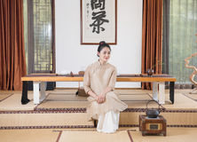 A woman with a teapot-China tea ceremony Stock Photo