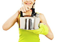 Woman with teapot Stock Photography