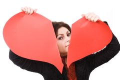 Woman tearing big red Stock Photos