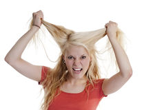 Woman tearing hair Royalty Free Stock Photo