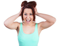Woman tearing her hair Royalty Free Stock Photos