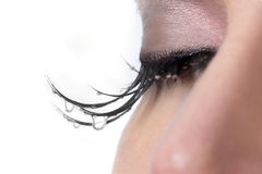 Woman With Tears Dripping from Her Eyelashes Royalty Free Stock Image
