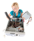 Woman and technology Stock Image