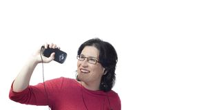 Woman technology mp3 music Stock Photos