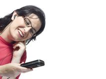 Woman technology mp3 music Stock Image