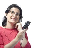 Woman technology mp3 music Stock Photography