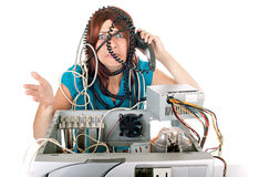 Woman technology panic Stock Image