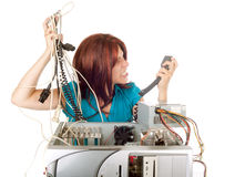 Woman technology panic Stock Photo