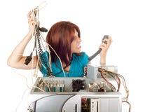 Woman technology panic Stock Photo