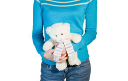 Woman with teddy Royalty Free Stock Photos