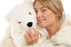 Woman with teddy bear Royalty Free Stock Photography