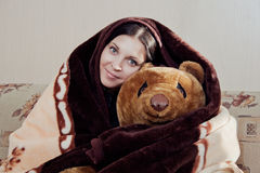 Woman with teddy bear Royalty Free Stock Photo