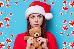 Woman with teddy bear Royalty Free Stock Images