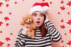 Woman with teddy bear Stock Photos