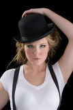 Woman in tee shirt and black hat Stock Photography