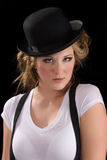 Woman in tee shirt and black hat Royalty Free Stock Photos
