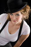 Woman in tee shirt and black hat Royalty Free Stock Photography