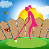 Woman Teeing Off Shows Golf Course And Ball. Woman Teeing Off Meaning Golf Online And Lady Stock Photo