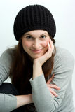 Woman, or teen in fall or winter hat. Royalty Free Stock Photography