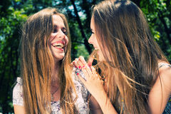 Woman and teenage girl laughing Royalty Free Stock Photos
