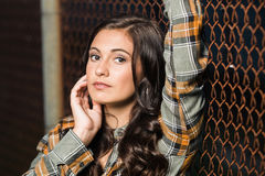 Woman teenager girl hair style fashion portrait. Royalty Free Stock Photography