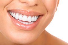 Woman teeth. Smiling woman mouth with great teeth. Over white background Royalty Free Stock Image