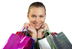 Woman with teeth smile handing bags. Closed up Stock Photography
