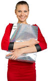 Woman with teeth smile holding shopping bag Stock Photo