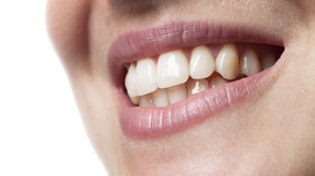 Woman teeth smiling mouth. On white background Stock Photo