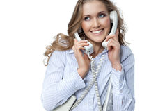 Woman with telephone Stock Photo