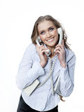 Woman with telephone Stock Image