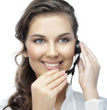 Woman with telephone. Attractive young woman with telephone on white background Royalty Free Stock Photos