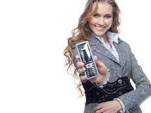 Woman with telephone Royalty Free Stock Images
