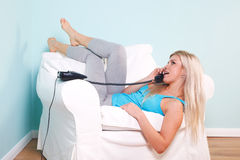 Woman on the telephone stock photo