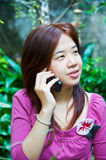 Woman and telephone Stock Image