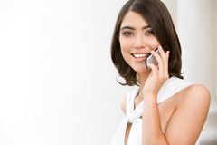 Woman with telephone Stock Photography